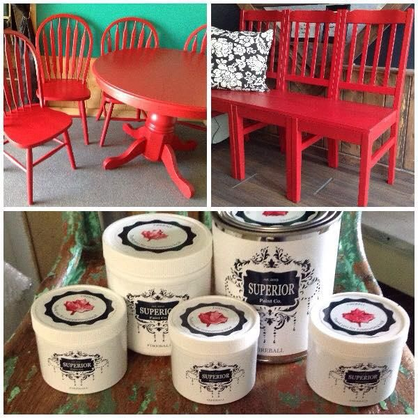 Kelowna's very first DIY Furniture Paint Line!!! Kelowna, Okanagan Superior Paint Co. Fireball Red #redchair #redtable #redbench #chairbench #chalk #paint #painted #furniture #diy