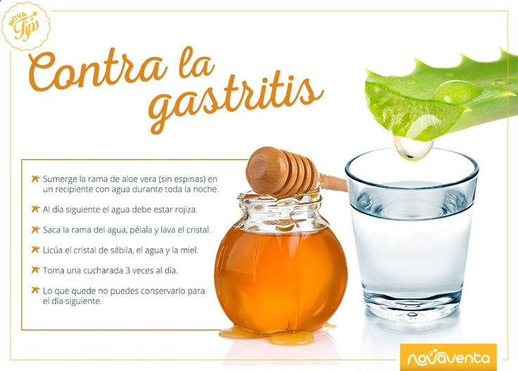 Si sufres de gastritis, este remedio casero podrá ayudarte a eliminar sus molestos síntomas. Solo necesitas: aloe vera o sábila, miel y agua.