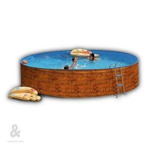 Piscina circular Toi Étnica fabricada en acero, cubierta por una funda de polietileno de alta densidad y calidad fotográfica. Incluye escalera galvanizada  y sistema de filtración de cartucho. Disponible en diferentes diámetros.