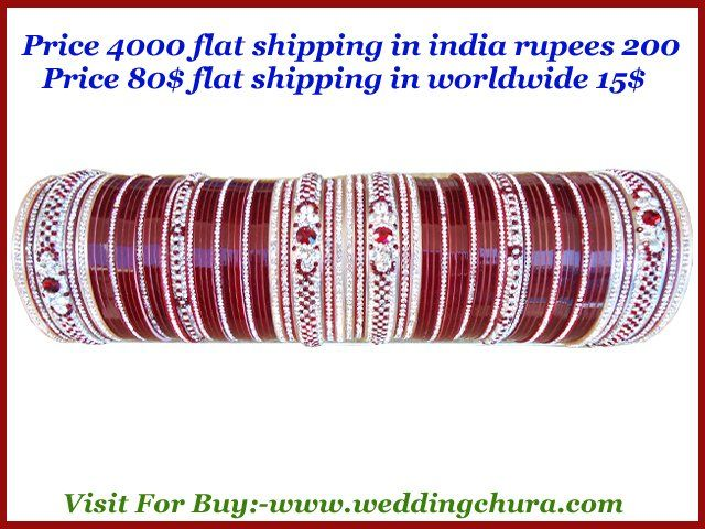 """""""Where you find exclusive nice wedding chura in size  2.10 and 2.12 ? Want to know? Visit online right now for buy from India at www.weddingchura.com . We shipped worldwide through DHL courier. The shipping charges is 14$. The price of the chura is 80$ . The shipping charges in india is rs. 200 & we ship worldwide . The shipping charges out of india is 15$ ."""""""