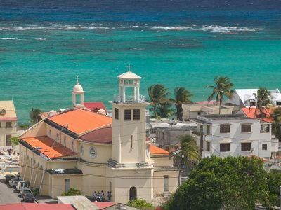 marie galante island | Town View and Church on Marie-Galante Island, Guadaloupe, Caribbean ...