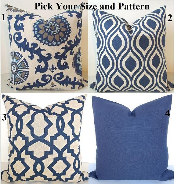 PILLOWS Navy Blue Throw Pillow Covers Dark by SayItWithPillows