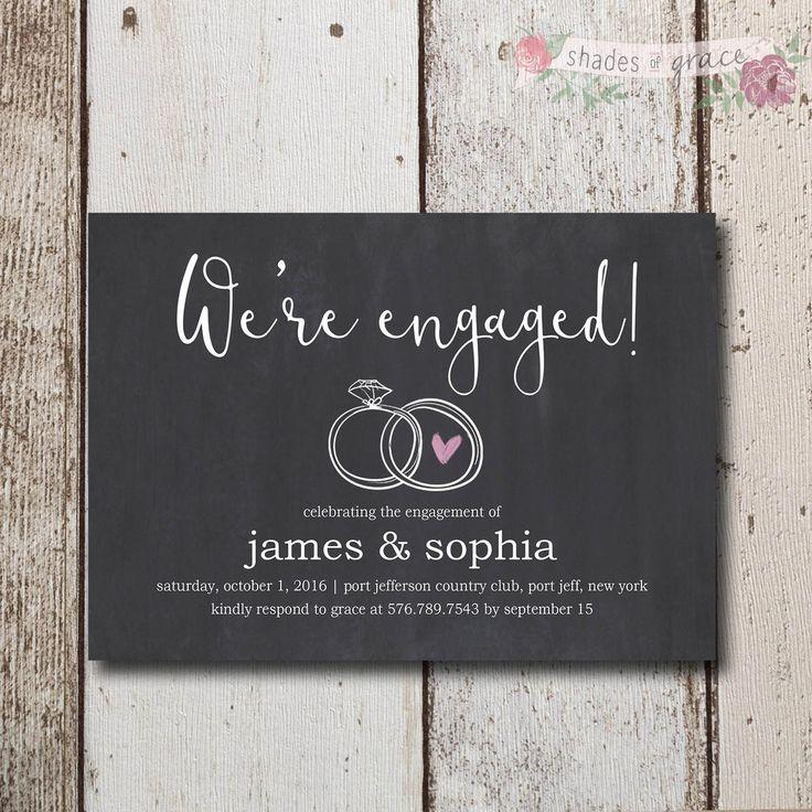 Rustic Engagement Invites Instant Download, Printable Engagement Invite, Chalk I...
