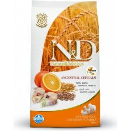 Crocchette per cani Super Premium senza mais. Farmina N&D Low Grain è senza mais, contiene cereali ancestrali come farro e avena, pesce come fonte proteica e arancia fonte di vitamina C.