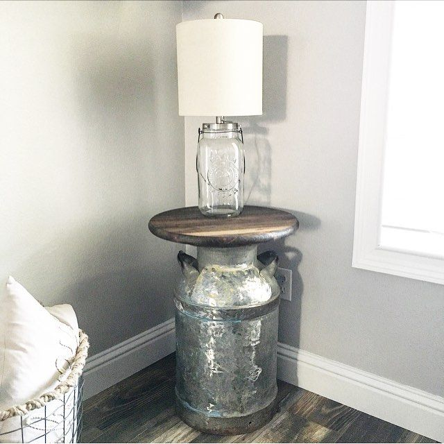 It was a DIY project kind of Sunday! Loving my new side table made from an antique milk can! Now it's time to put on my comfy clothes and watch a good Lifetime movie.