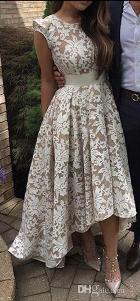 2017 New Elegant Nude Underlay Floral Lace High low Crew Neckline Cap Sleeves A Line Prom Dresses Evening Gowns