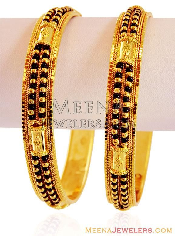 22Kt Gold Bangle with Black Beads