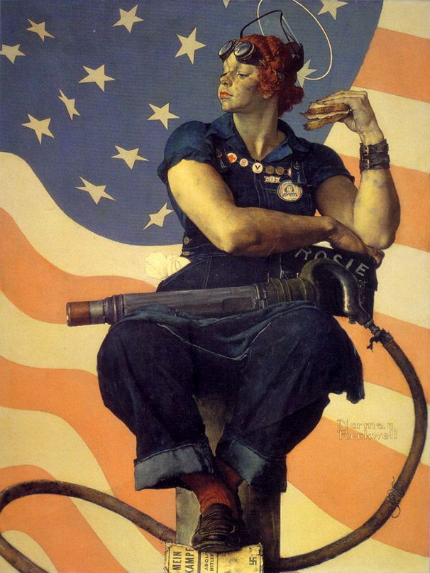 Norman Rockwell, Rosie the Riveter, 1943, oil on canvas, 52 x 40 in. Image courtesy of The Saturday Evening Post, Photography by Dwight Primiano