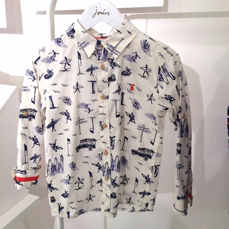 Neat boys shirt with illustrative surf theme print for kidswear spring 2015 at Petit Joule