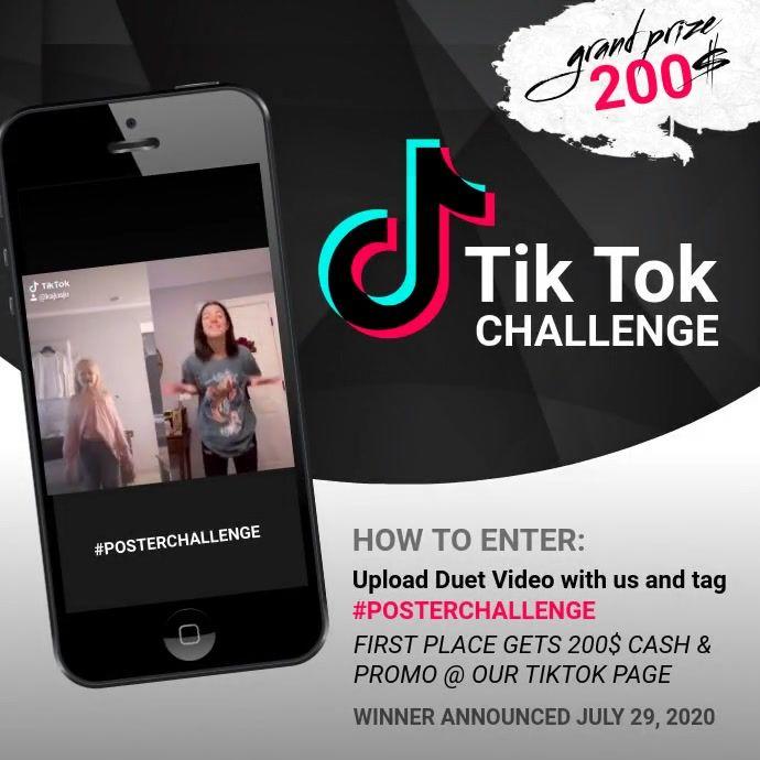 Tik Tok Challenge Design Template Instagram Contest Poster Challenges Contest