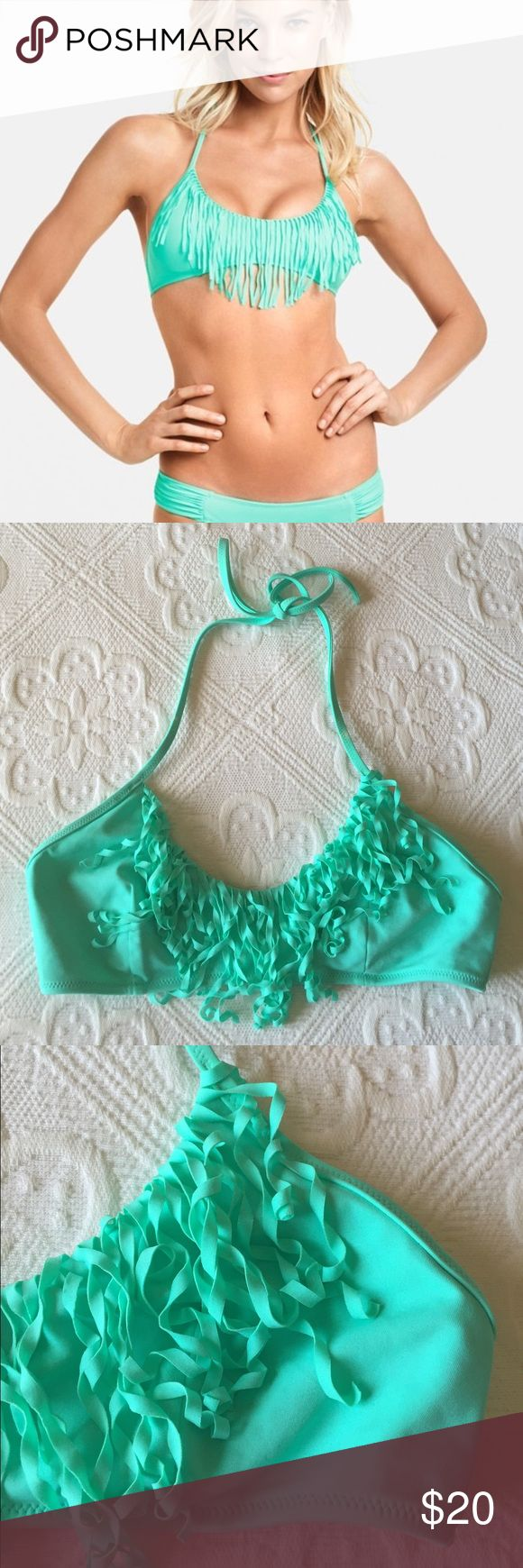 Victoria's Secret - Fringe Halter Swim Top Victoria's Secret - Fringe Halter Swim Top ONLY / Has been worn, slight discoloration spots from wearing in chlorine & the fringe has curled..such a cute top!  Color is a sea foam green. Victoria's Secret Swim