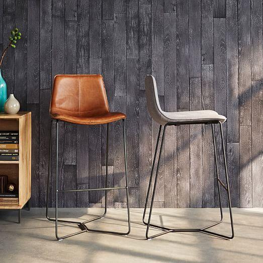 Slope Leather Bar + Counter Stools | west elm