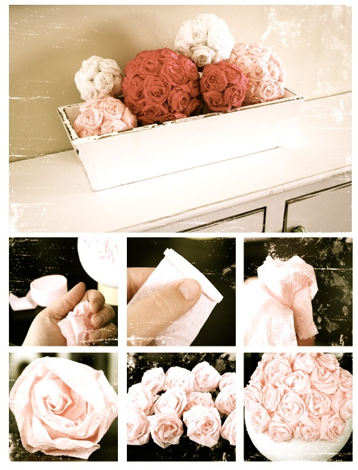 DIY Pomander. SO easy and so cute! Form the roses out of party streamers and hot glue, then glue them onto a styrofoam ball! It's that easy, and SO cute!