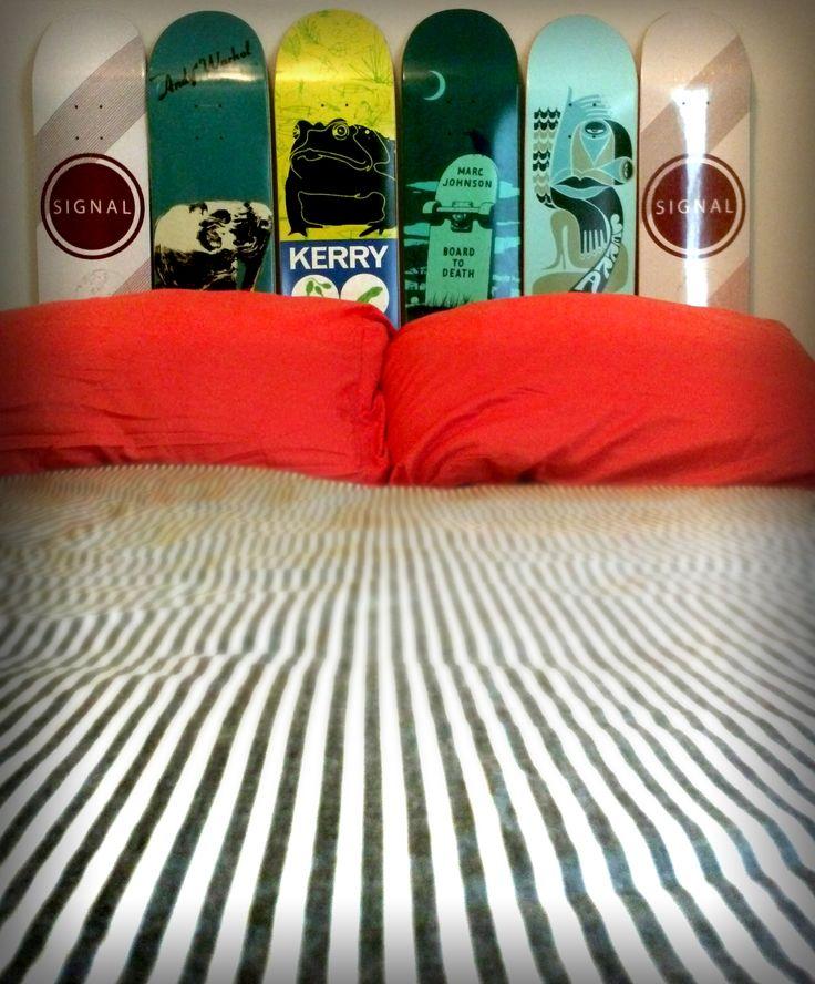 skateboard headboard on pinterest skateboard bedroom skateboard
