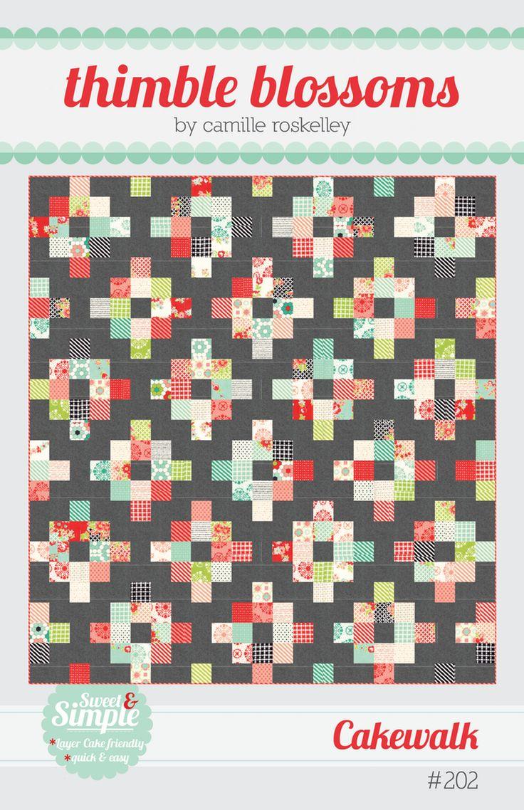 "Cakewalk pattern use 3 charm packs plus fq=32 10"" squares) * 2-1/2 yards background fabric * 5/8 yard binding fabric"