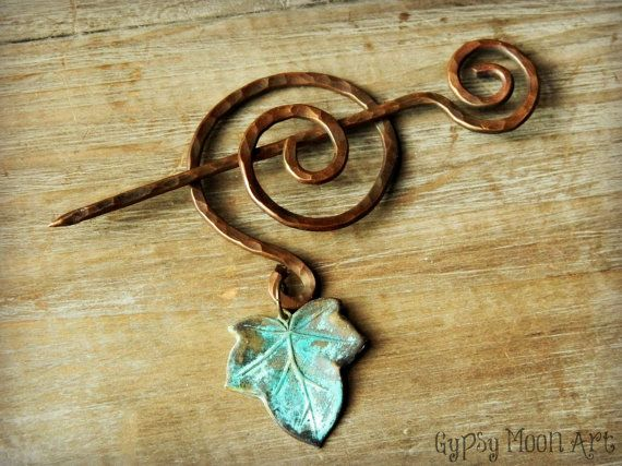 Copper Ivy Brooch. Copper Wire Wrapped Elven Ivy Brooch Shawl Pin