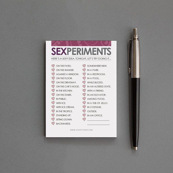 "Sexy Paper Anniversary Gift. Sticky Notes Notepad. Funny. Man, Woman, Husband, Wife, Boyfriend, Girlfriend. ""Sexperiments"" (NSN-L003)"