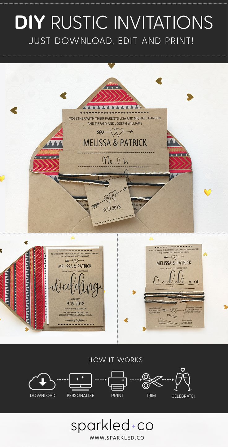 17 best rustic wedding invitations images on pinterest wedding rustic boho wedding invitation set instantly download edit and print filmwisefo