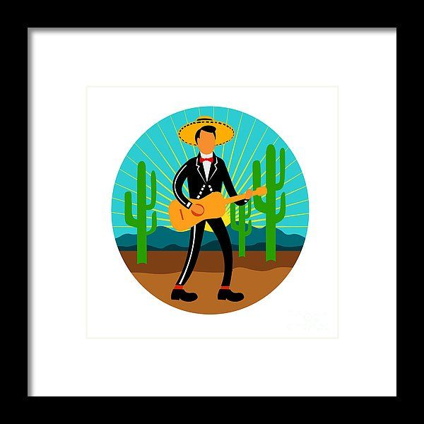 Mexican Mariachi In Desert Circle Retro Framed Print by Aloysius Patrimonio.  All framed prints are professionally printed, framed, assembled, and shipped within 3 - 4 business days and delivered ready-to-hang on your wall. Choose from multiple print sizes and hundreds of frame and mat options.