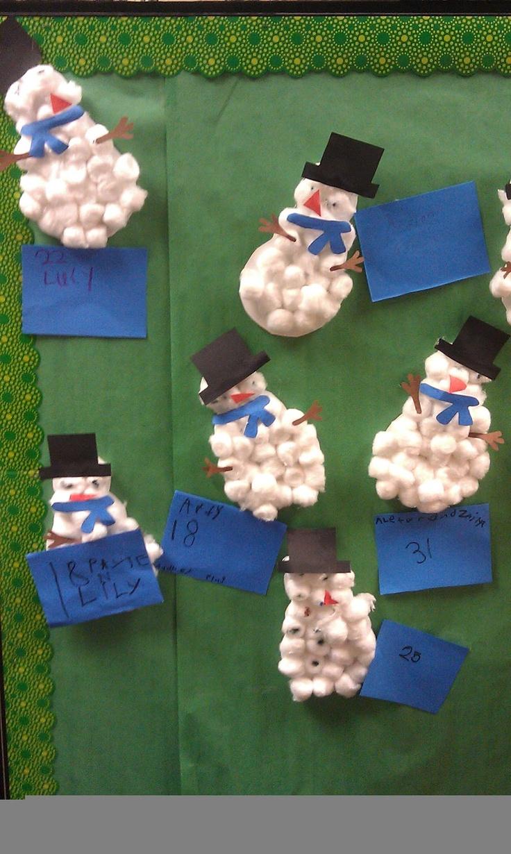 Kindergarten Kel- Cotton ball snowmen math project.