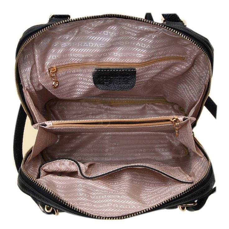 Mochilas de cuero original para notebook bolsas de chicas negras