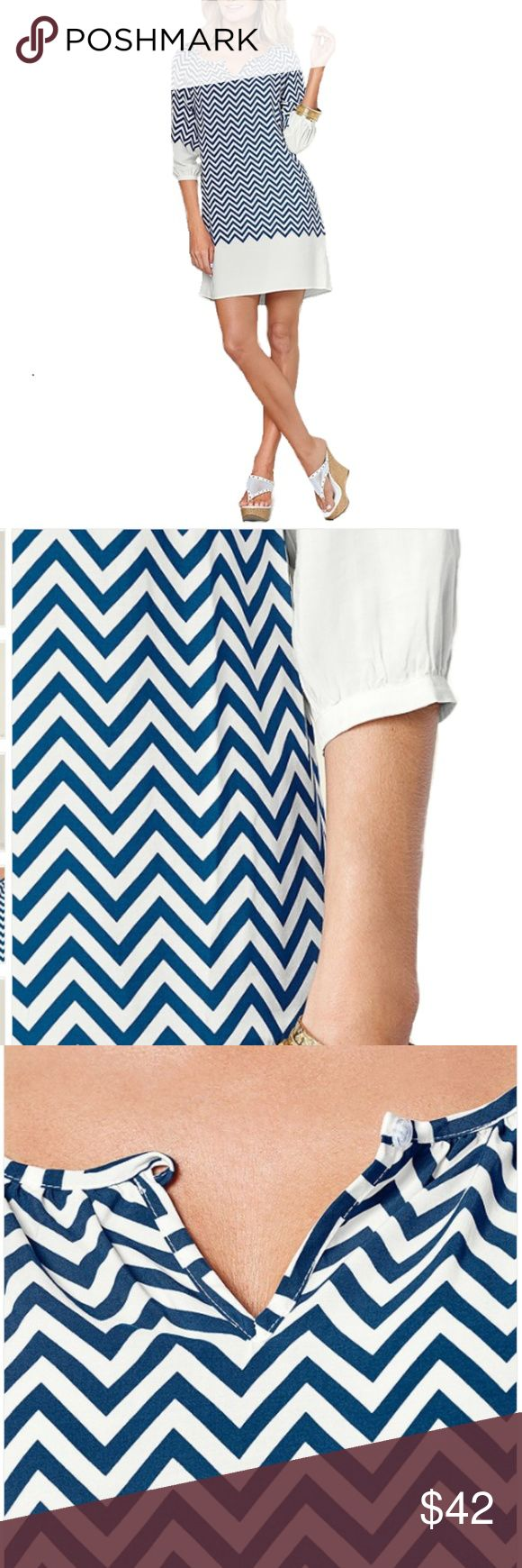 """CHEVRON PRINT DRESS Beautiful chevron print dress gently worn A-line dress is complete with split neck and 3/4 length sleeves with buttons on wrists. 19"""" in length from natural waist •No trades •Will consider reasonable offers VENUS Dresses Mini"""