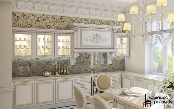 "Дизайн загородного дома ""Классический аквамарин"": Кухни в . Автор – Samarina projects"