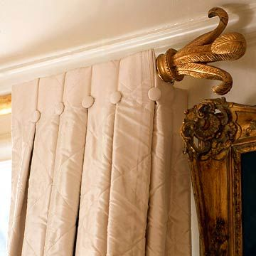 I have lived here 10+ years without drapes in my living room. I need to get serious about this. I like this look. Not the color, but the style.