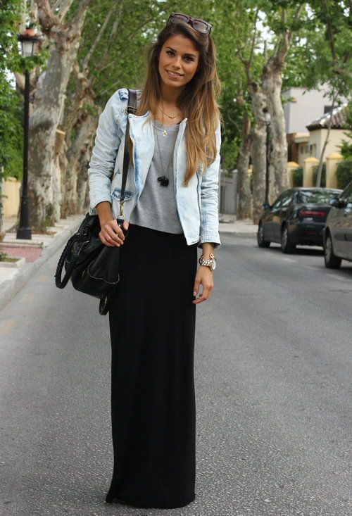 Zara Jacket, Topshop Dress and HM  Sweater: Maxi Dresses, Fashion, Style, Clothing, Skirts Outfits, Long Skirts, Denim Jackets, Black Maxi Skirts, Black Skirts