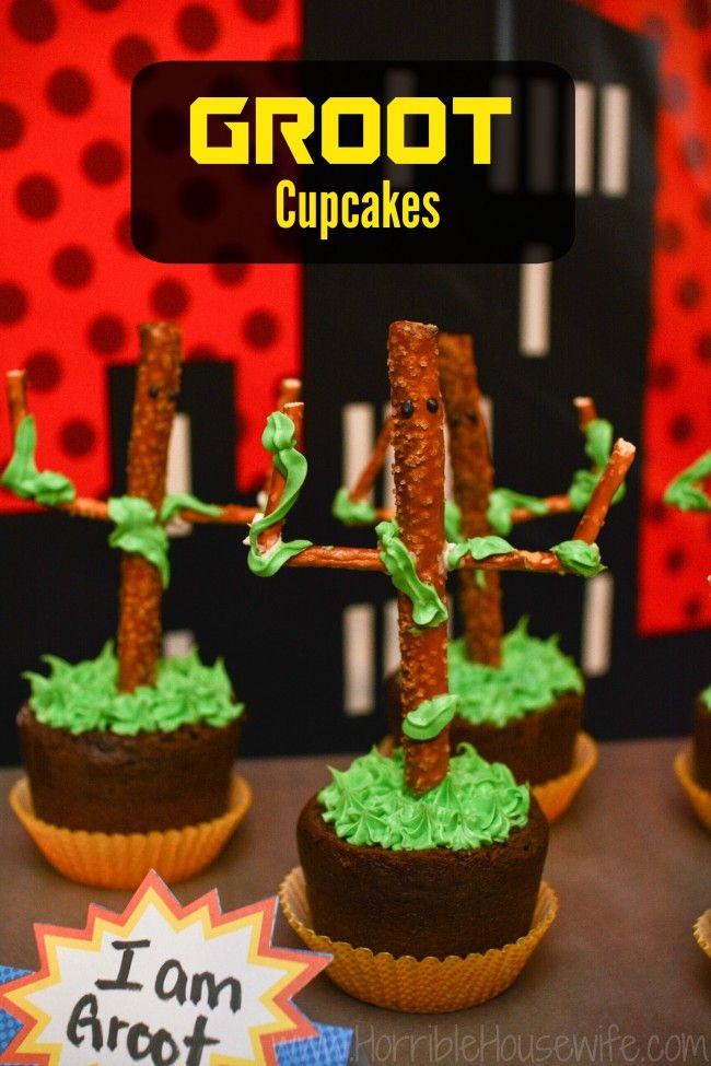 Groot cupcake tutorial for a Guardians of the Galaxy party