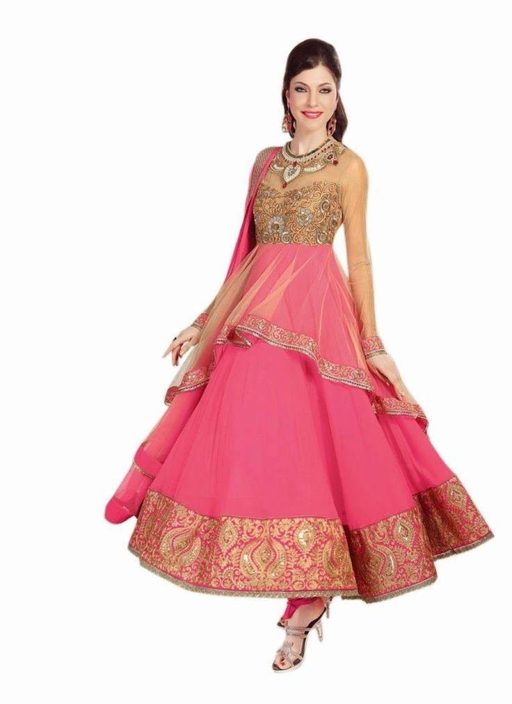Pink Net Faux Georgette Pakistani Salwar Suit