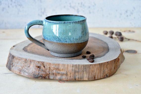 Large Pottery Coffee Mugs set 2 Ceramic mugs Set Two