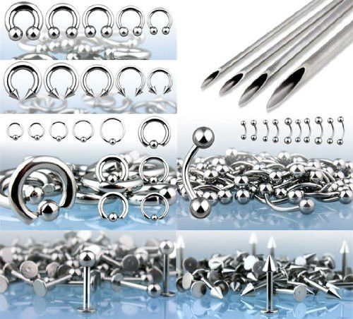 BodyJ4You® Body Piercing Kit 14G 16G 316L Stainless Steel Jewelry Professional Kit Lot of 175 Pieces