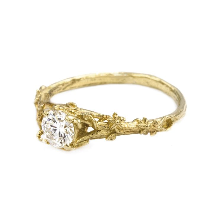Fine Bark Diamond Ring with Vine Detail