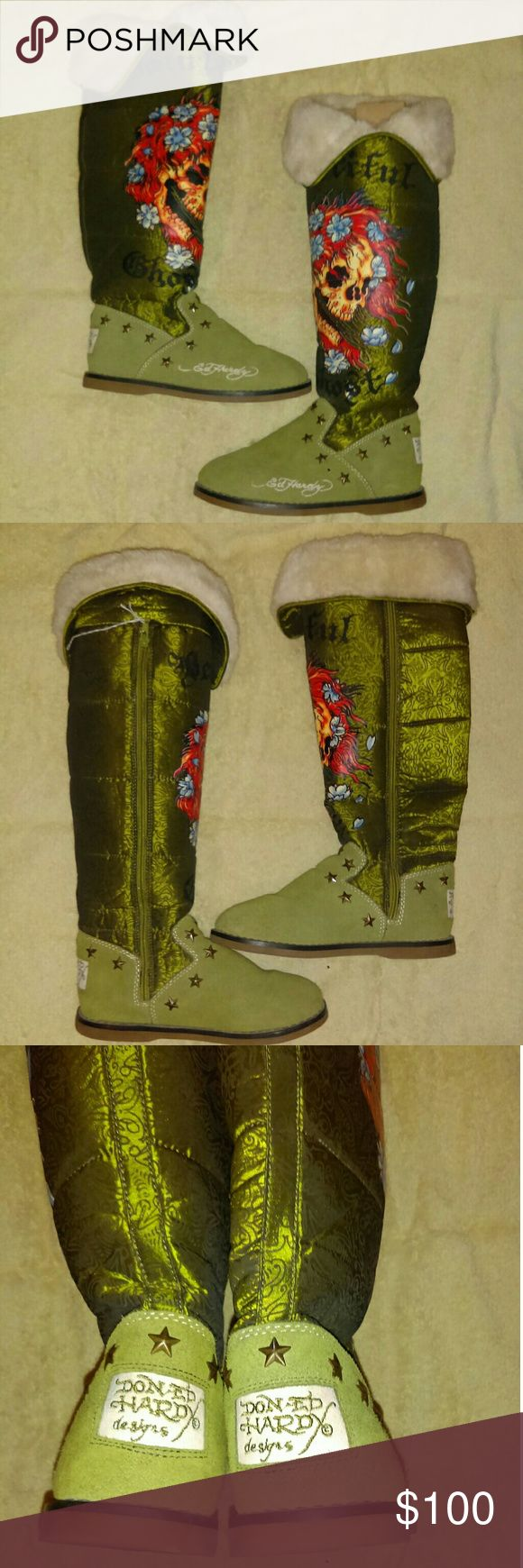 """🌟NWOT Ed Hardy """"Beautiful Ghost"""" tall boots These boots are still like brand new, you can tell just by looking at the fur lining. They are green in color with star rivets around ankle, famous tattoo design in multiple color ink and the writing """"Beautiful Ghost"""" across the front. The top does roll down or can be worn all the way up. Measure 20"""" from the top unfolded to bottom of sole. Literally no wear at all look new. The foot part is suede with a nylon upper. Brand is Ed Hardy by Christian…"""