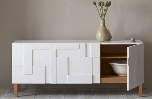 white and wod credenza   to create with a neutral sideboard, a handy hand and few wood ...
