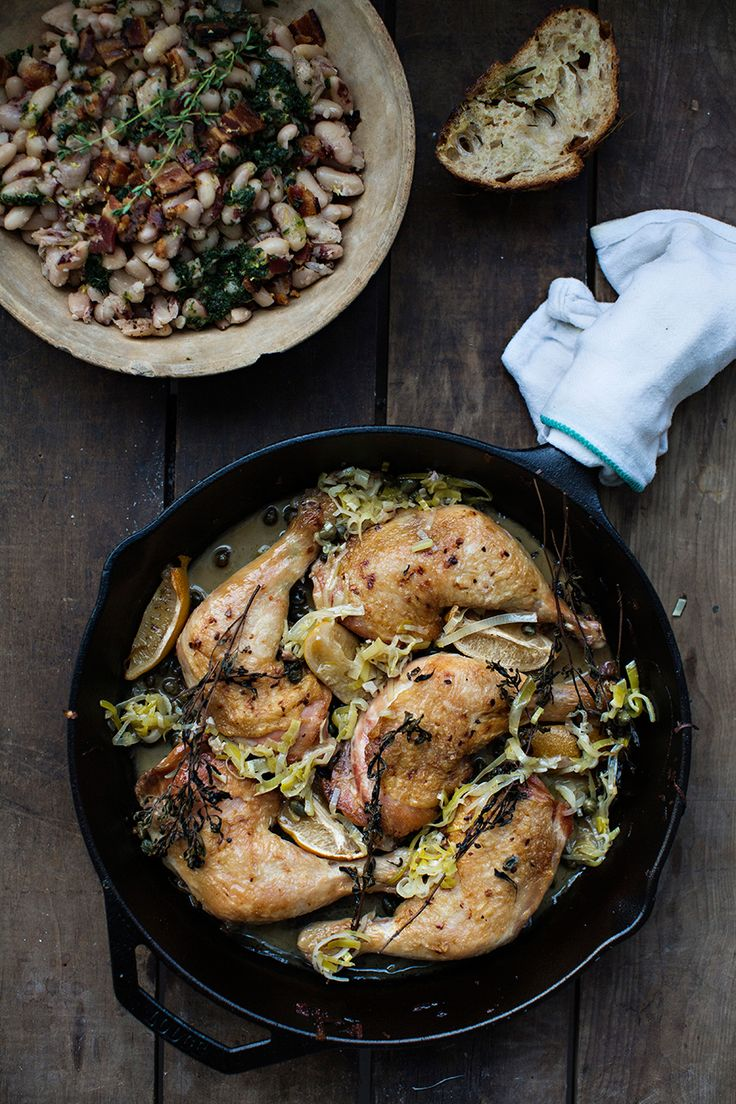 Braised Chicken with White Wine, Preserved Lemon + Marjoram; White Beans + Herb Oil | recipes from Sunday Suppers