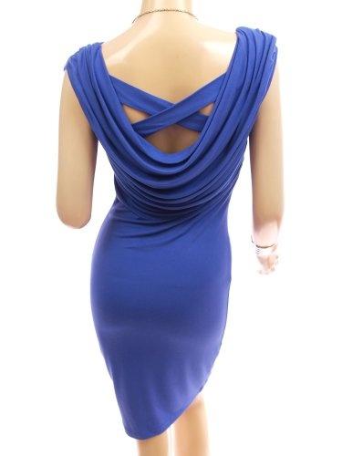 Patty Women Stunning Drape Front and Back Cowl Neck Sleeveless Casual Dress