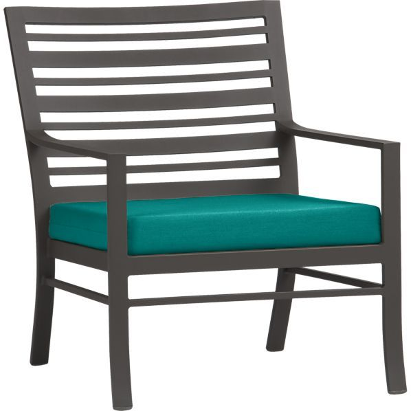 valencia lounge chair with sunbrella harbor blue cushion in valencia crate and barrel