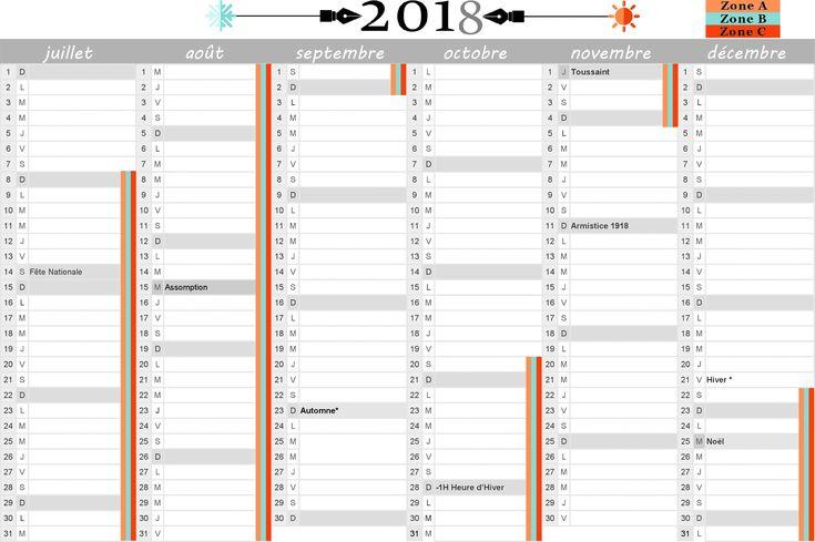 Calendrier 2018 : vacances scolaires et jours fériés inclus. 2ème semestre