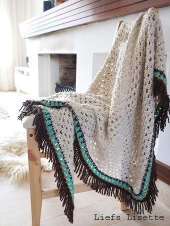 Haakpatroon Omslagdoek Met Mooie Franjes Omslagdoeken Sjaals