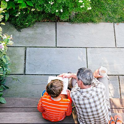 Choose low-maintenance materials - This bluestone patio requires zero attention.