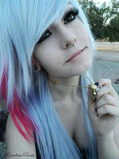 emo girl white and pink hair cute emo style pinterest