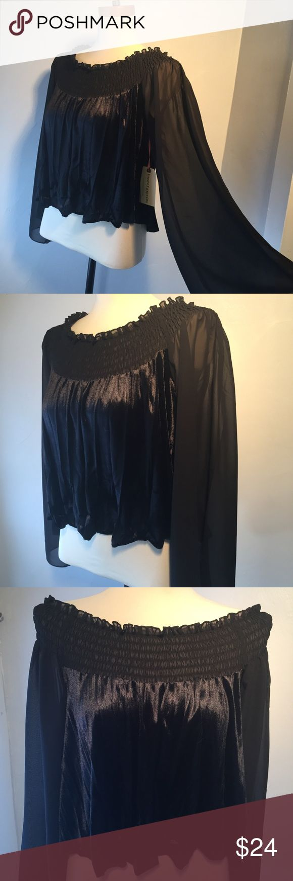 """Band Of Gypsies Black Velvet Top Super cute off the shoulder top...sheer sleeves, black velvet bottom. Cropped length. Brand new with tags. 16"""" from neckline to bottom. ReAsOnaBle offers always considered. Band of Gypsies Tops"""