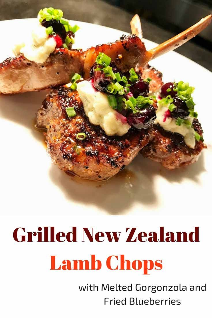 Grilled New Zealand Lamb Chops With Melted Gorgonzola And Fried Blueberries  Recipe