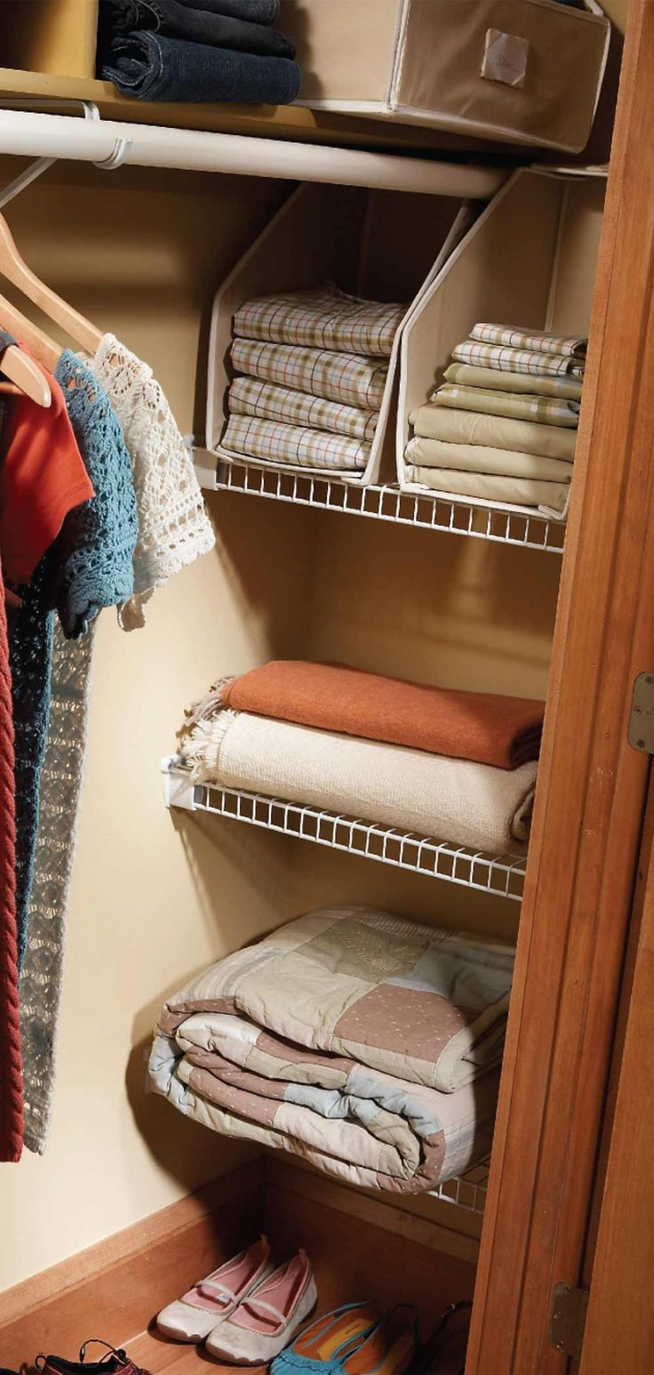 Add simple shelving in back closet corners. Check out these easy tips to expand your closet space!
