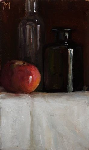 Daily painting titled  Still Life with Bottles and Red Apple