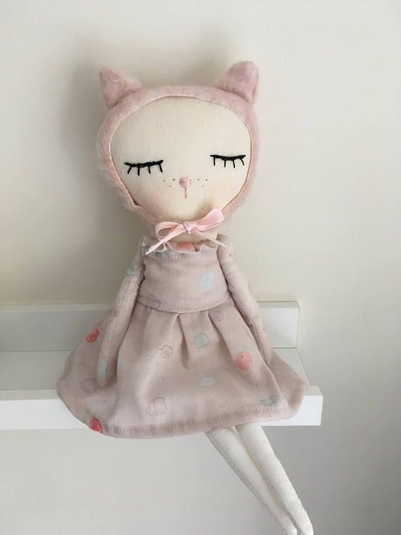 SALE Ready to ship cute cat doll in pink dress handmade cloth