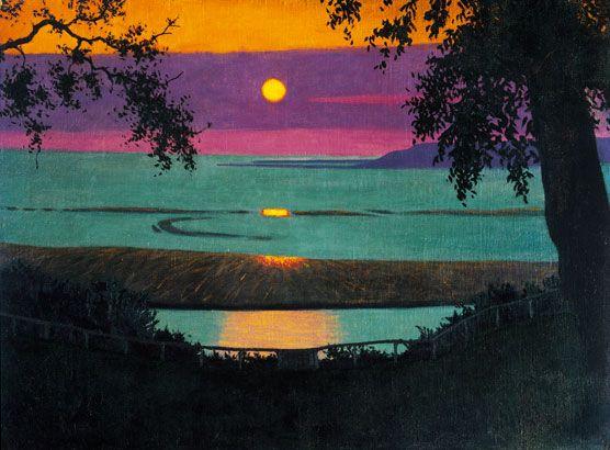 Félix-Vallotton, Coucher de soleil à Grâce, ciel orangé et violet