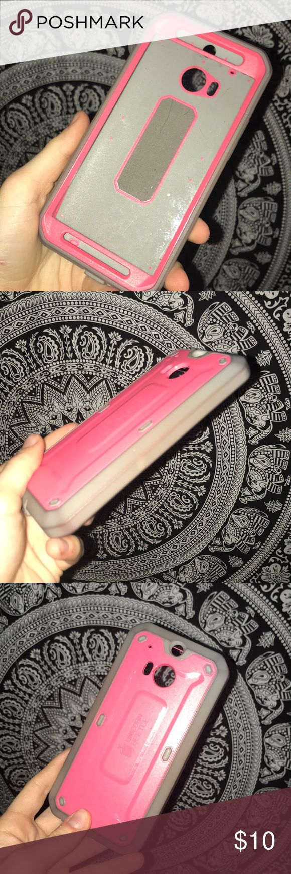 HTC phone case Pink and grey HTC case  Lightly used unicorn beetle Accessories Phone Cases